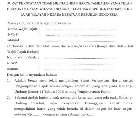 Surat Kuasa Menandatangani Tax Amnesty by Contoh Surat Pernyataan Tax Amnesty Pengunan Pajak