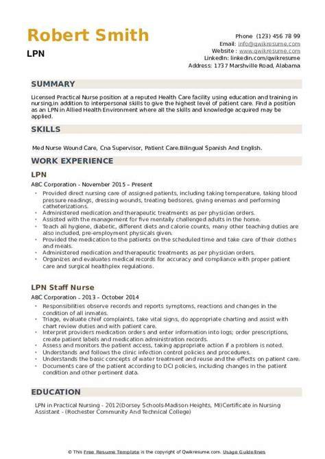 lpn resume samples qwikresume