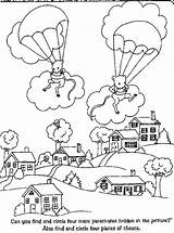 Coloring Parachute Template Skydiving Clipart Job Library Coloringhome sketch template
