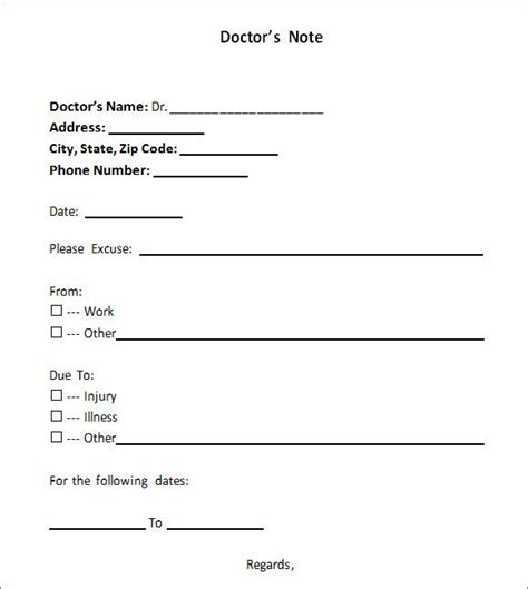 sample doctor note   documents   word