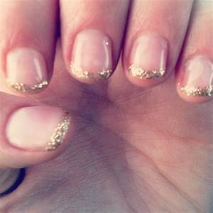 Gel nails with gold glitter French tips. This with rose ...