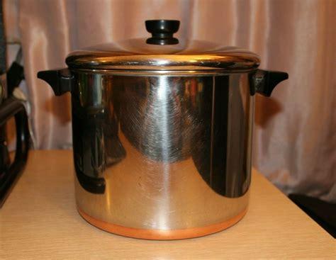 revere ware  qt copper clad bottom tall stock pot  lid clinton ill usa   sale
