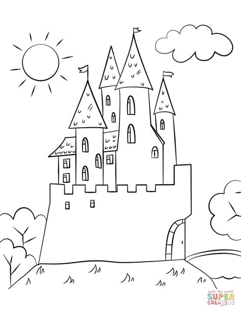 Kleurplaat Slot by Castle Coloring Page Free Printable Coloring Pages