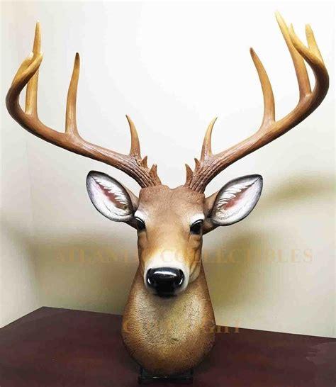 deer buck head bust hanging wall mount home decor collection statue figurine ebay