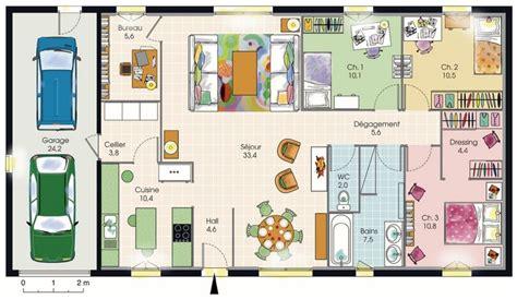 plan de maison 120m2 4 chambres plan maison plain pied 3 chambres jpg 1175 680 plan