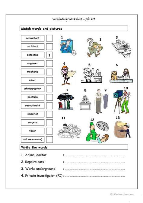 vocabulary matching worksheet jobs  worksheet