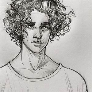 Drawing of a boy with curly hair. (This is not my drawing ...