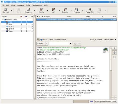 claws mail screenshots