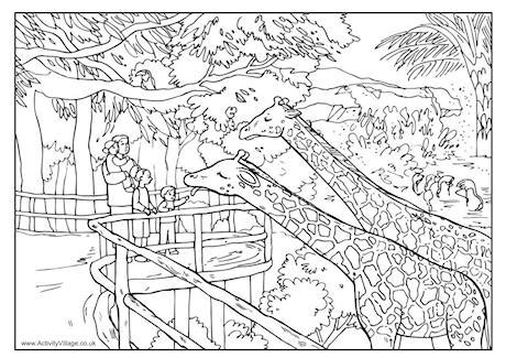 zoo colouring page