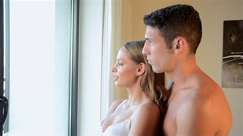 Young Couple Showering Together Stock Footage Video