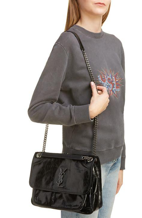 saint laurent medium niki smooth leather shoulder bag  blue lyst