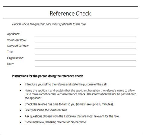 sample reference check template   documents