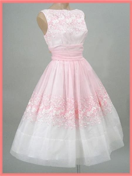vintage embroidered pink chiffon party dress