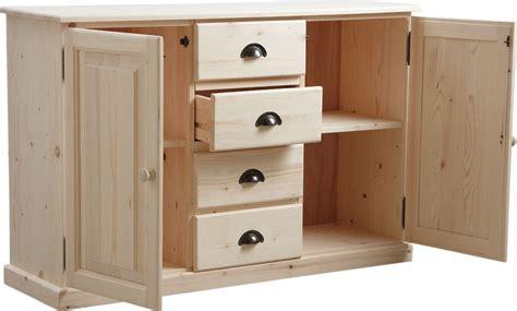 meuble de cuisine bois meuble bois brut 2 portes 4 tiroirs
