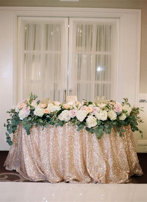 Sweetheart Table With Sequined Linen Sweetheart Table