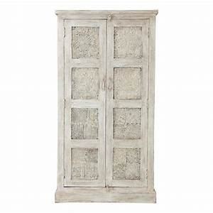 mango wood wardrobe in white with distressed finish w 90cm With armoire maison du monde