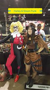 Harleyquinn And A Steampunk Cosplay Holding A Twisted Wire