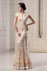 elegant lace champagne a line long short sleeves wedding With champagne lace short wedding dress