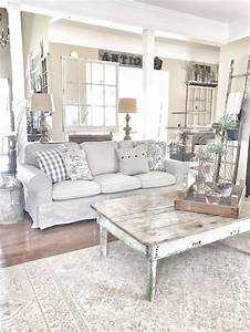 beautiful white shabby chic living room decoration ideas With deco maison shabby chic