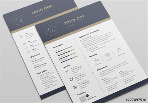 Resume Header Creator by Resume Layout With Blue And Gold Header Buy This Stock