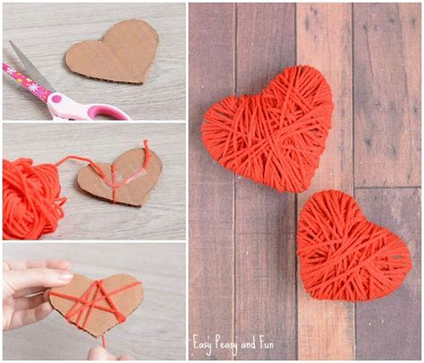 7 and easy s day crafts for preschoolers 330 | Cute Yarn Wrapped Hearts