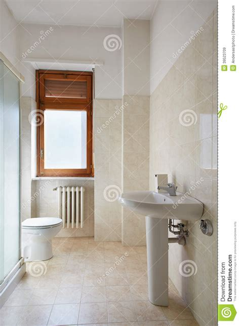 simple bathroom  normal apartment stock photo image