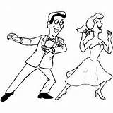 Coloring Dancing Couple Ballroom Dance Slow Template sketch template