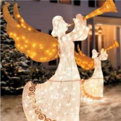 set 2 outdoor animated lighted trumpeting yard decor