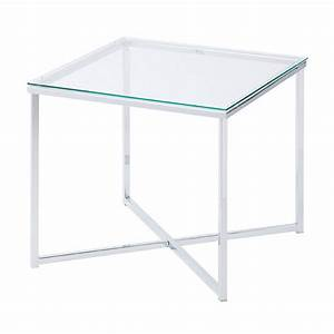 X square glass side table buy glass end tables living for Glass end tables
