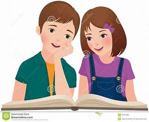 Children read the book stock vector. Image of friends ...