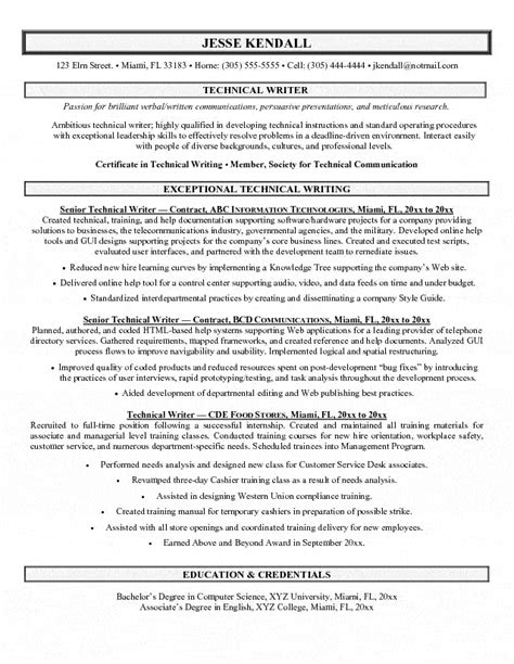 technical writer resumes exles technical writer resume