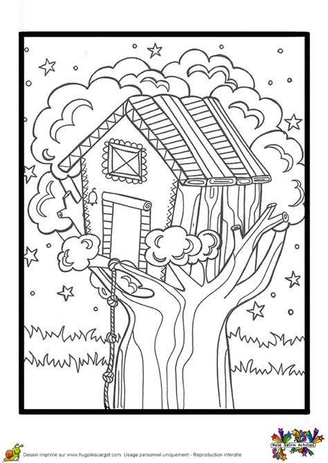 coloriage cahier de vacances cabane sur un arbre hugolescargot