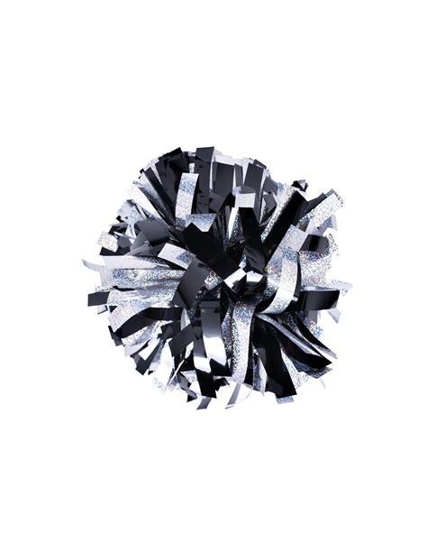 6 Poms Holographic Silver Metallic Black