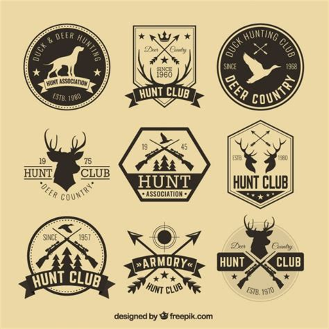 hipster hunting badges vector free download
