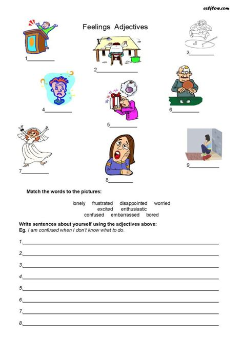 feelings adjectives worksheet with pictures for esl students