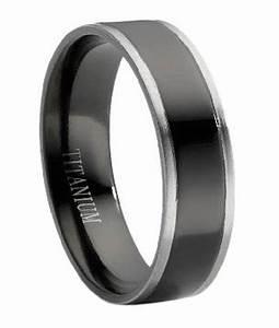 Black Titanium Wedding Band For Men With Grey Edges 6mm