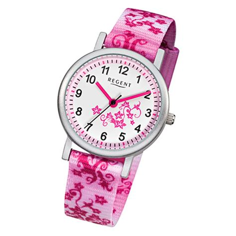 regent blumenranke kinder armbanduhr textil rosa pink weiss