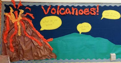 volcano themed bulletin board teaching science