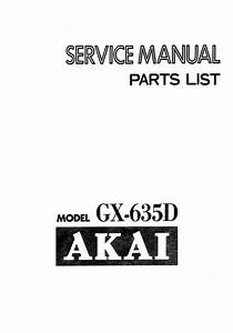 Akai Gx-635d Reel Tape Recorder Service Manual