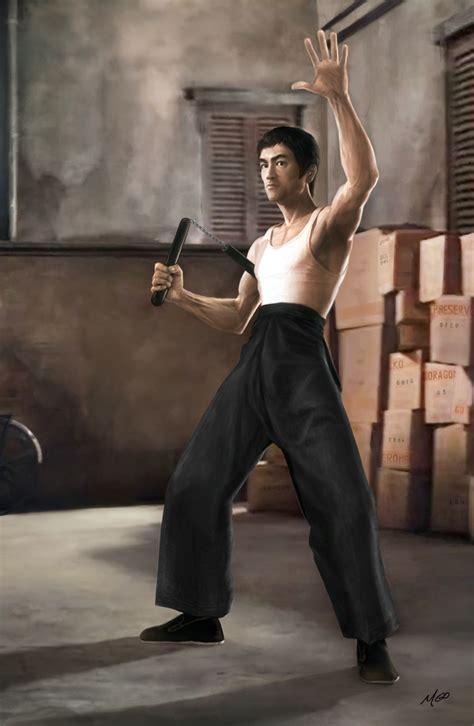 bruce lee nunchaku pose limited edition poster art