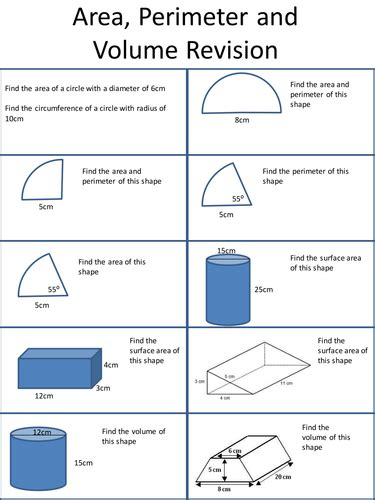 Area, Volume And Perimeter Revision Sheet By Holyheadschool  Teaching Resources Tes