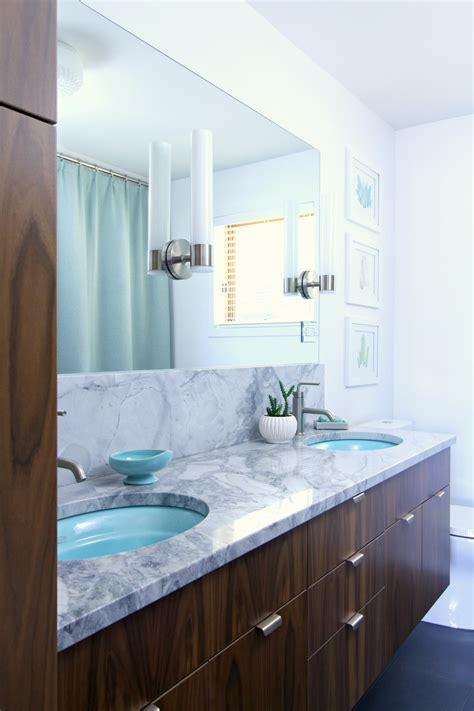 mid century modern inspired bathroom renovation