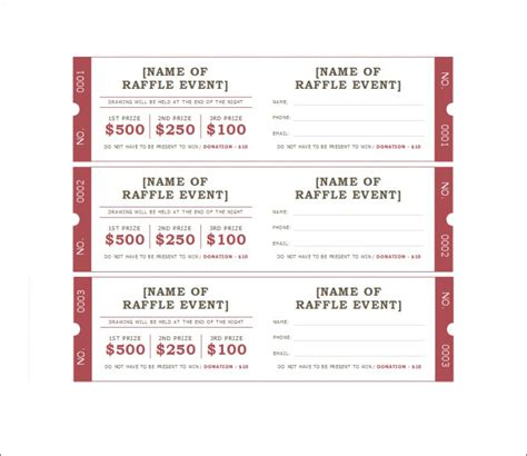 printable raffle   stubs