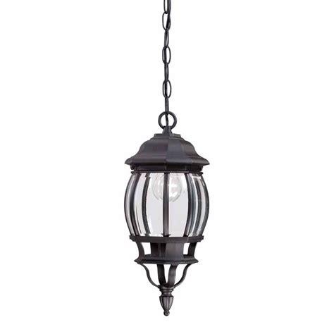 home depot outdoor hanging lights hton bay 1 light black outdoor hanging lantern hb7030