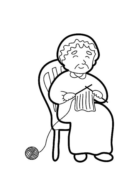 grandmother  telling story  knitting coloring pages