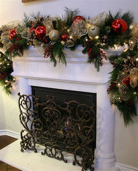 christmas garlands  stairs fireplaces  lights