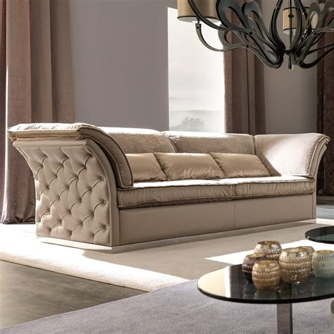 Italian Sofa Company by Italian Designer Leather Button Upholstered Sofa
