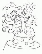 Coloring Park Birthday Amusement Piggy Celebrating sketch template