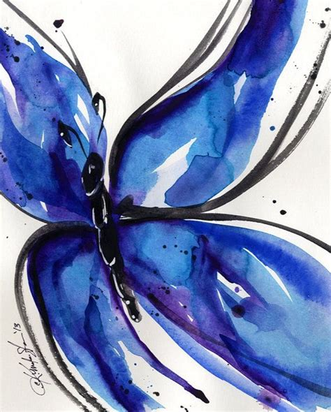 Song Butterfly Butterfly Watercolor Painting Abstract Blue Black Art