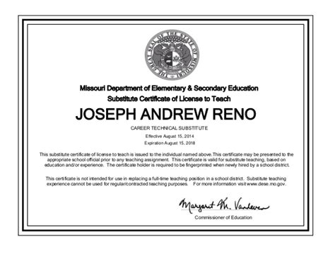 bureau of educator certification missouri substitute certificate joseph reno